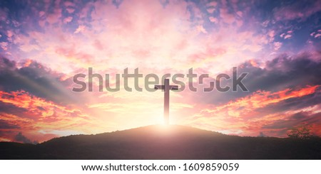 Easter concept: The Cross symbol of christian and Jesus Christ #1609859059
