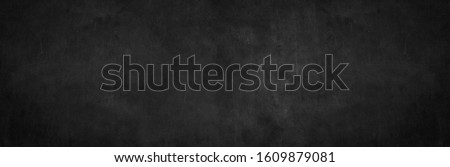 Blank wide screen Real chalkboard background texture in college concept for back to school panoramic wallpaper for black friday white chalk text draw graphic. Empty surreal room wall blackboard pale. #1609879081