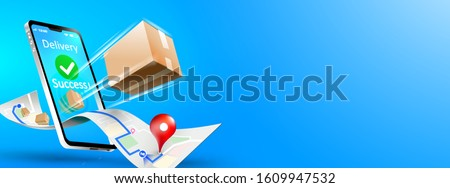 Online delivery phone concept. Fast respond delivery package shipping on mobile. Online order tracking with map. Vector illustration #1609947532