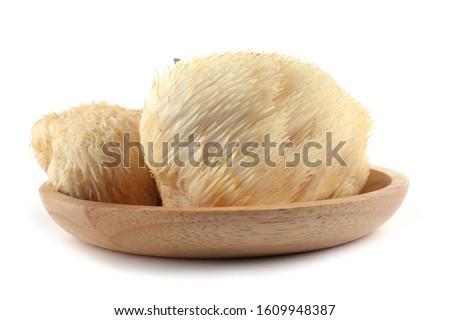 Hericium erinaceus mushroom (monkey head mushroom, bearded tooth fungus, bearded hedgehog mushroom, pom pom, lion's mane mushroom) Royalty-Free Stock Photo #1609948387