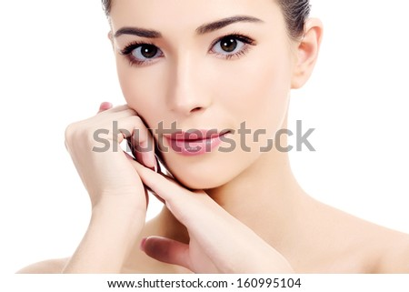 Beautiful girl with clean fresh skin, white background, copyspace  #160995104