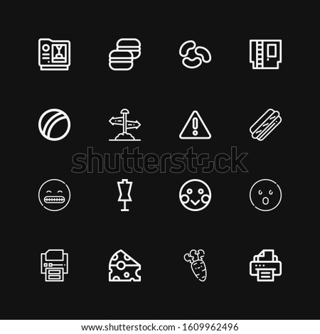 Editable 16 yellow icons for web and mobile. Set of yellow included icons line Printer, Carrot, Cheese, Shocked, Shy, Dummy, Hot dog, Warning, Direction sign on black background #1609962496