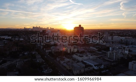 Aerial drone shot of the Los Angeles skyline from the west during sunrise #1609966984