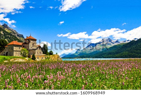 Mountain meadow lake house view. Meadow flowers house in summer mountains. Summer mountain meadow flowers landscape. Meadow house in mountains #1609968949