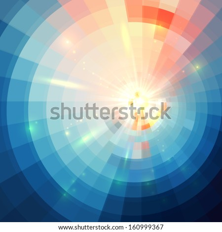 Abstract blue shining circle tunnel vector background