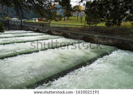 Water Flows Through the Fish Ladder at the Bonneville Dam, Cascade Locks, Oregon, USA #1610021191