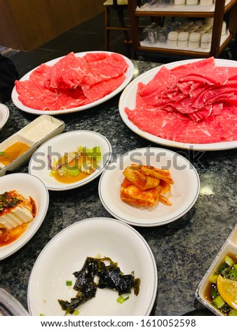 korean hot pot dishes with side dishes #1610052598