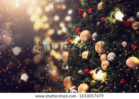 decorate christmas tree on blur background #1610057479
