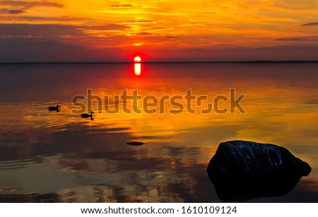 Sunset water horizon landscape. Sunset water scene. River sunset horizon view. Sunset water landscape #1610109124