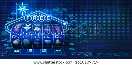 Abstract gambling concept image for online casinos offering free spins rounds on slot games. 3D illustration showing wire-frame style computer generated slot reel, coins and a neon sign