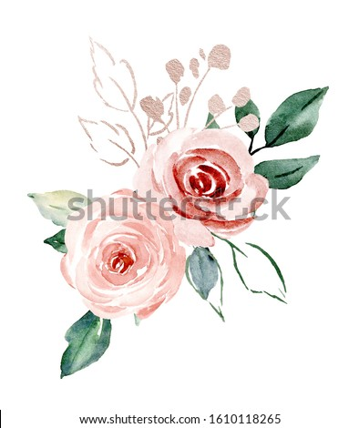 Flowers pink watercolor, floral blossom clip art. Bouquet blush roses perfectly for printing design on wedding invitations, cards, wall art and other. Isolated on white background. Hand painting.