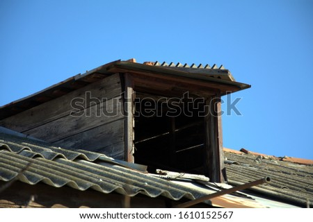 old entrance to the old attic of an old house #1610152567