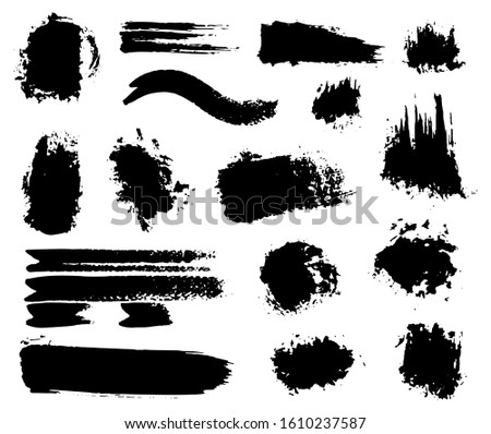 Inked Vector Paint Brush Strokes Set. Big Collection of Black Silhouettes, Paintbrushes, Hand-made Acrylic Wet Blot and Dry Paint Splatters and Waves, Grunge Smear and Dynamic Textured Splotches #1610237587