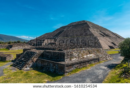 View of the pyramids of Teotihuacan, ancient city in Mexico, located in Valley of Mexico. Teotihuacan pyramids Moon and Sun -Aztecs. UNESCO world heritage #1610254534