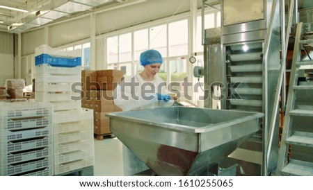 Candy factory. Factory worker checking packing machine. Young woman in uniform inspecting packing machine while working in confectionery factory. #1610255065