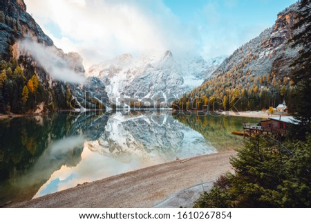Perfect scenery of famous alpine lake Braies (Pragser Wildsee). Location Dolomiti Alps, national park Fanes-Sennes-Braies, Italy, Europe. Scenic image of Italian Alps. Discover the beauty of earth. #1610267854