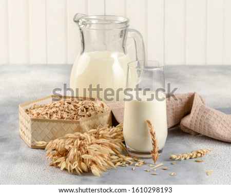 The concept of a vegetarian diet. Oat milk in the glass with jug of oat milk and oat and oat ears. Light background #1610298193