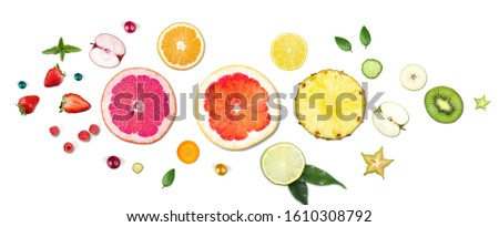 Collection fresh colorful fruit on the white background. #1610308792