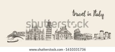 Italy skyline with its main attractions. Rome, Venice, Pisa, Milan, Naples. Conceptual artwork. Hand drawn vector illustration, sketch #1610331736