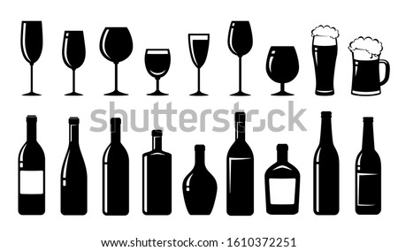 food set of alcohol bottles and glasses #1610372251