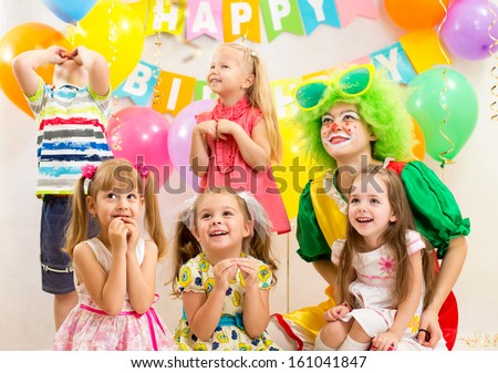 jolly kids group and clown on birthday party #161041847
