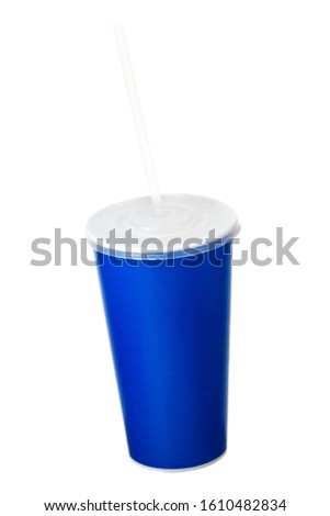 Blue cup with cap and tube isolated on white background. Concept of refreshments in cinema or watching movies #1610482834
