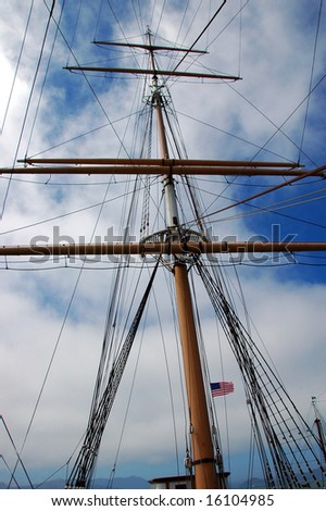 Ship Mast with American Flag #16104985