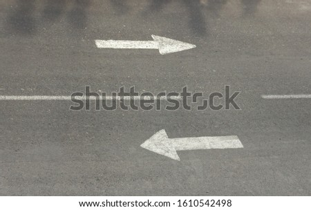 two ways road signs on asphalf street. Consept of way and choice #1610542498