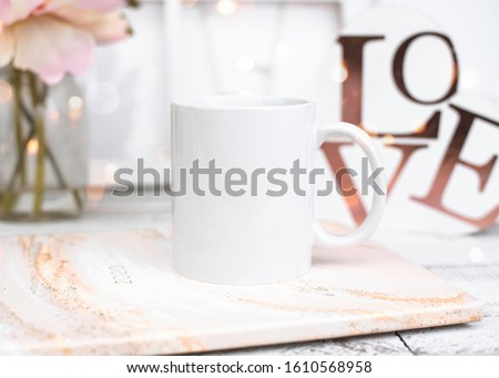 Styled Blank White Mug Stock Photo // Valentines Day Styled Stock Mug // Blank White Mug Mockup // Valentines Day Mug Mockup // Spring Styled Stock Photo #1610568958