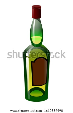 single frosted green glass bottle with a strong alcoholic drink, whiskey, cognac or wine, color vector illustration isolated on a white background in clip art or cartoon style