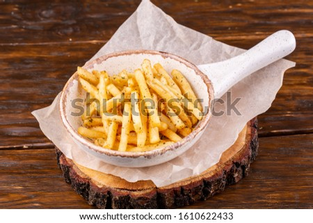 Fries with greenery.Fries with greenery #1610622433