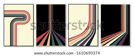 Vintage Striped Backgrounds, Posters, Banner Samples, Retro Colors from the 1970s Royalty-Free Stock Photo #1610690374