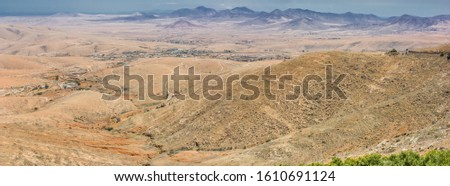 Top view beautiful mountain panorama of Fuerteventura island, Canary islands, Spain.