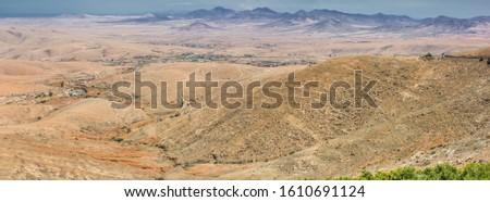 Top view beautiful mountain panorama of Fuerteventura island, Canary islands, Spain.