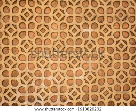 facade of building is decorated with geometric ornament stock photo #1610820202