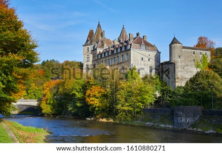 Autumn view of the 17th century 'Château de Durbuy' (Castle Durbuy). Durbuy in the smallest city of Belgium, Province of Luxembourg, Ardennes, Belgium #1610880271