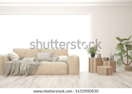 Stylish room in white color with sofa. Scandinavian interior design. 3D illustration #1610900830
