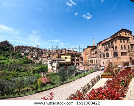 Amazing view for the historic city of Siena in Tuscany. Spring in Tuscany. #1611080422