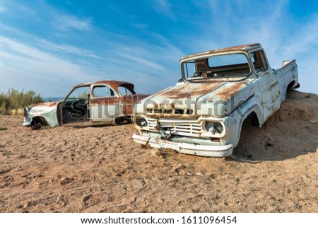 Namibia, Africa. Car wreckage at Solitaire village. Namibia June 2019 #1611096454