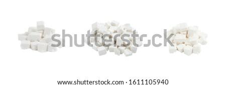 White Feta cheese isolated on the white background, set #1611105940