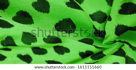 Texture, background, pattern, postcard, silk fabric, green print from the fabric of black hearts, your projects will not go unnoticed, this fabric will help you with this #1611151660
