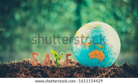 Text save over blurred green background. Pray For Australia.Fire in Australia. Animals killed in Fiers.climate change effect.Save tree save the animal.