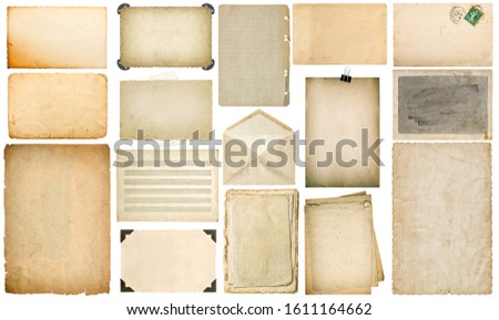 Used paper sheets with edges. Vintage book pages, postcard, music notes, photo frame with corner, envelope isolated on white background. Set. Collection