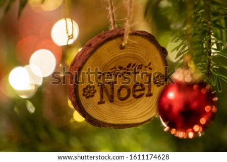 Wooden Christmas Tree Decoration with Noel written on hanging #1611174628