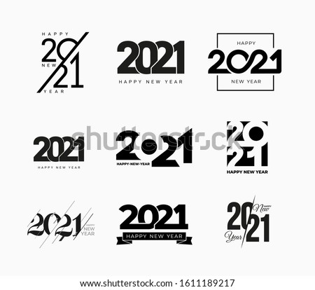 Big collection of 2021 Happy New Year signs. Set of 2021 Happy New Year symbols. Greeting card artwork, brochure template. Vector illustration with black holiday labels isolated on white background. #1611189217