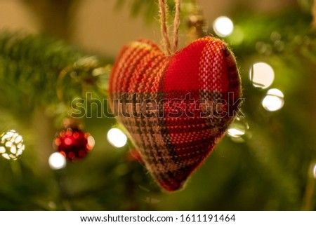 Red and White Knitted Heart Shaped Bauble #1611191464