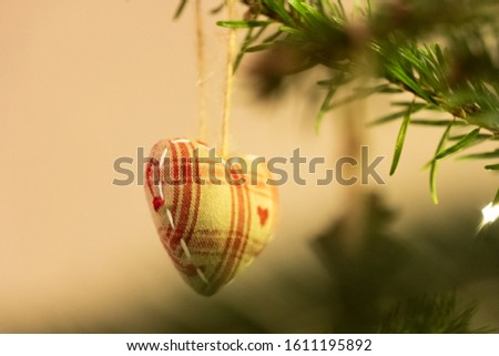 Red and White Knitted Heart Shaped Bauble #1611195892