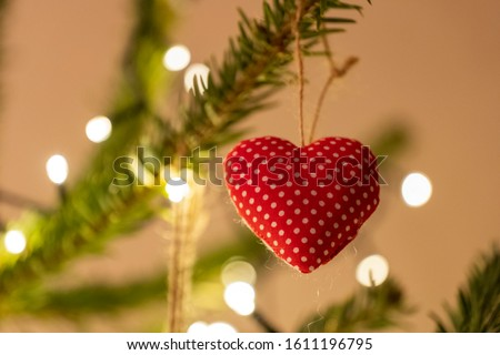 Red and White Knitted Heart Shaped Bauble #1611196795