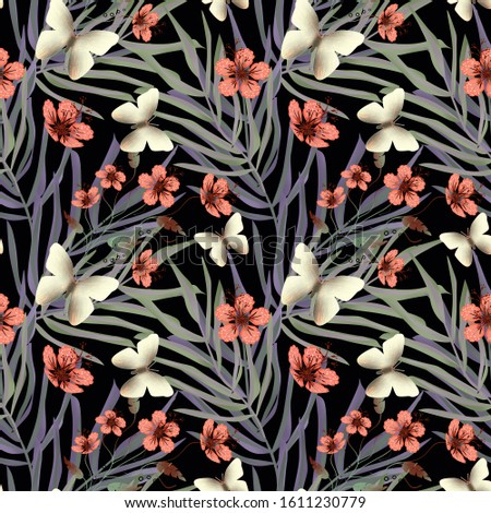 Seamless retro floral pattern with butterflies on a black background.