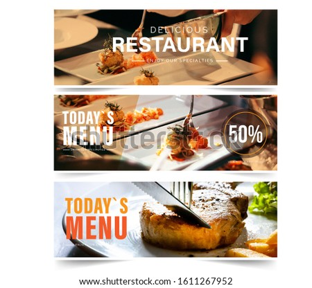 Design banner restaurant for social networks, Template for advertising	 #1611267952
